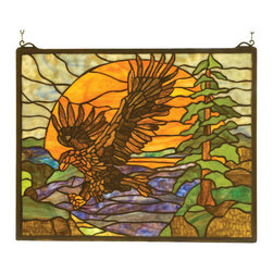 Meyda - 20 Inch W 16 Inch H Eagle At Sunset Window Windows - Color Theme: Purple/Blue Amber Orange Lt Blue Pbag Green
