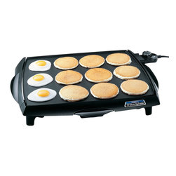 "Presto - Tilt 'n' Drain Big Griddle 23"" - Tilt 'n' Drain Big Griddle Electric Griddle. This griddle offers and efficient ""square"" shape that holds more pancakes, eggs, and sandwiches than most conventional rectangular griddles. Cool touch base surrounds the grilling surface on the front and both sides. Huge cooking surface cooks up to 50% more than other jumbo griddles. Cool-touch base surrounds the cooking surface on the front and both sides. Slide-out drip tray empties easily.The heavy cast aluminum base with premium nonstick surface assures stick-free cooking and easy cleaning. Built-in backstop ledge for convenient food handling. Control Master heat control maintains the desired cooking temperature automatically. Griddle is fully immersible with the heat control removed. Dimensions: 23""W x 17.25""D x 3.5""H"