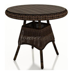 """Wicker Forever Patio Leona 30"""" Round Dining Table with Glass Top - Above Item Includes:  (1) 30"""" Round Leona Wicker Dining Table & (1) Glass Top."""