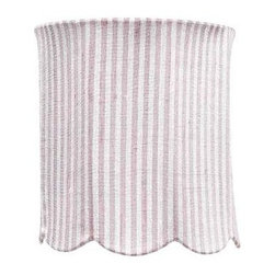 Jubilee Collection - Medium Shade - Scallop Drum - Pink & White Stripe - Material: silk, metal. 7 x 7 x 8 in.