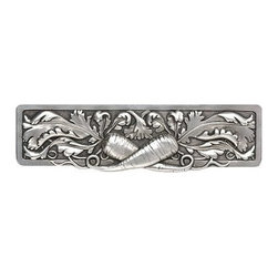 "Inviting Home - Leafy Carrot Pull (brilliant pewter) - Hand-cast Leafy Carrot Pull in brilliant pewter finish; 5""W x 1-3/8""H; Product Specification: Made in the USA. Fine-art foundry hand-pours and hand finished hardware knobs and pulls using Old World methods. Lifetime guaranteed against flaws in craftsmanship. Exceptional clarity of details and depth of relief. All knobs and pulls are hand cast from solid fine pewter or solid bronze. The term antique refers to special methods of treating metal so there is contrast between relief and recessed areas. Knobs and Pulls are lacquered to protect the finish."