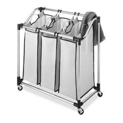 "Whitmor - Chrome Laundry Sorter Mesh Bag - Whitmor Chrome Laundry Sorter with Foam Mesh Bags - Dimensions: 16"" x 31"" x 32.5"" - Easy no tool assembly.  Druable environmentally friendly chrome plated tubing.  3 removable foam-mesh sorter bags.  Heavy duty wheels included.  Breathable and washable foam-mesh bags.  This item cannot be shipped to APO/FPO addresses. Please accept our apologies."