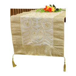 Banarsi Designs - Floral Ornamental Embroidered 72-Inch by 17-Inch Table Runner - Dress up your next dinner party with this ravishing table runner. Featuring a finely embroidered floral design, hand-stitched beaded details and a wide selection of sumptuous colors, it's a timeless accent that adds flair to any table.