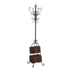 SEI Metal Scroll Hall Coat Tree With 2 Rattan Storage Baskets - This rack is great for a home with children. The baskets are perfect for holding little gloves, baby shoes and other knickknacks.