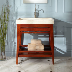 """30"""" Aurelia Mahogany Trough Sink Vanity - Lend a modern, refined look to your bathroom with the Aurelia Vanity, featuring a large trough sink. The rich, reddish hues of mahogany create a striking contrast to the cool color and natural veining of the marble sink."""