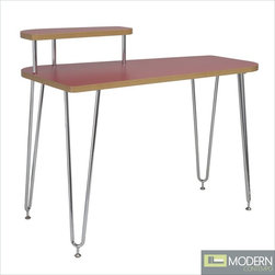 Hanh Desk w/ Left Shelf in Red -