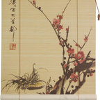 Oriental Furniture - Sakura Blossom Bamboo Blinds - (72 in. x 72 in.) - This traditional bamboo matchstick blind has been printed with an elegant depiction of a blossoming cherry tree, the classic symbol of Japan. This simple, beautiful motif is printed in high definition on all natural bamboo and makes a stylish Eastern accent for the home or office.