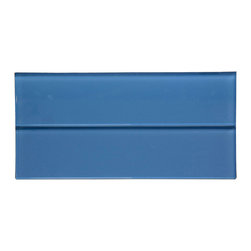 "Blue Glass Subway Tile - Blue Color. Glossy Glass Tile 3""x12"". Price is per square foot."