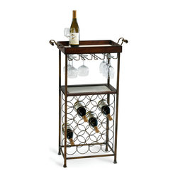 New York Wine Stand - Its lower portion filled by open rings of copper-hued metal that hold wine bottles securely on their sides, the New York Wine Stand increases its utility with a top tray equipped with heavy, gracefully curved side handles.  Below it, sleek racks hold wine glasses inverted above a second useful shelf, making this elegantly functional furnishing a supremely attractive and efficient use of space.