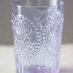 Anthropologie - Fleur-De-Lis Tumbler, Lavender - These tumblers are perfect for juice or wine. The lilac color is so perfect for spring.