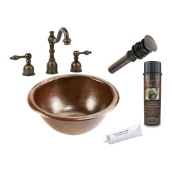 Premier Copper Products - Small Round Self Rimming Sink w/ ORB Faucet - PACKAGE INCLUDES: