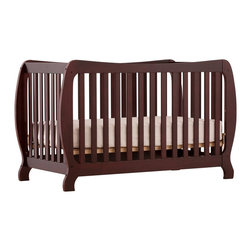 Stork Craft - Stork Craft Monza II 2-in 1 Fixed Side Convertible Crib in Cherry - Stork Craft - Cribs - 04587344 - A throwback to the retro modern design era of the mid-twentieth century the Monza I Fixed Side Convertible Crib by Stork Craft Furniture is sure to be a welcome addition to your nursery.This crib features a unique retro curve on the back and a dipped curve along the front allowing effortless access to your baby. The clean detailing and bowed posts create a truly striking piece. All four sides are stationary and include an adjustable three position mattress support base to add to the security and stability of this epoch crib. This crib will grow with your child as it converts from a standard crib to a full-size bed (full size bed rails not included).  This piece is made of solid wood and wood products offered in a selection of non toxic durable finishes. Set-up this modern work of art with ease by following the simple easy to follow assembly instructions provided by Stork Craft. Complete your nursery look by adding a Stork Craft changing table chest dresser or glider and ottoman.