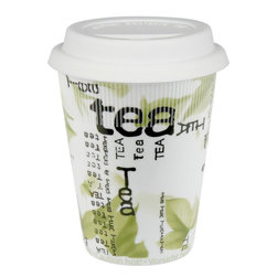 Konitz - Set of 2 Travel Mugs Tea Collage - Any time can be tea time - enjoy your daily tea ritual with the Tea Collage Travel Mugs. Contemporary tea leaf graphics against black print make this set a must-have for your favorite, freshly-brewed teas. Whether you�re drinking organic green or calming mint, you�ll love our high-quality porcelain, which keeps your beverages hot for long-lasting flavor.