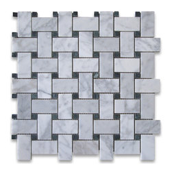 "Stone Center Corp - Carrara Marble Basketweave Mosaic Tile Green Dots 1x2 Honed - Carrara white marble 1"" x 2"" rectangle pieces and Ming Green 3/8"" dots mounted on 12"" x 12"" sturdy mesh tile sheet"
