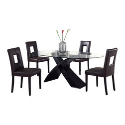 Global Furniture USA - DG018DT + DG072DC-BEI Wenge Finish & Beige Vinyl Five Piece Dining Set - This contemporary dining room set is a great addition to anyone's home who values a modern style. This set by Global Furniture is constructed of high quality wood veneers, glass and leather. With a beautiful warm color palette in this set, it will definitely catch the eye of your guests. This table features a glass table top with a unique base design, an X shaped wenge finished wood base. The chairs come upholstered in a beautiful beige leatherette material. The dining set includes the dining table and four chairs only.
