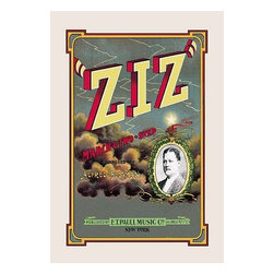 """Buyenlarge.com, Inc. - Ziz: March and Two-Step- Paper Poster 12"""" x 18"""" - Edward Taylor Paull (1858 - 1924) was a prolific publisher of sheet music marches. His songs gained acclaim more from the cover art of the sheet music than often from the lyrics and tune."""