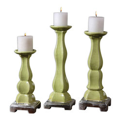 Uttermost - Irwyn Candleholders, Set of 3 - Three is definitely not a crowd here. Placed together, this trio of candleholders strikes a gorgeous pose. Each bright, green crackled ceramic candleholder features graceful curves and metallic silver accents. It's like having the triple crown of candlelight.