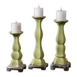 Uttermost - Irwyn Candleholders Set of 3 - Three is definitely not a crowd here. Placed together, this trio of candleholders strikes a gorgeous pose. Each bright, green crackled ceramic candleholder features graceful curves and metallic silver accents. It's like having the triple crown of candlelight.