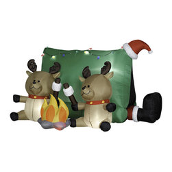 None - 4-foot High Airblown-Santa and Reindeer Camping Scene Outdoor Lawn Ornament - Complete your holiday decor with this festive holiday lawn ornament. Cute reindeer are bringing holiday cheer around the campfire with Santa,for a fun,cheerful finish to your seasonal outdoor scene.