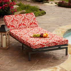 None - Alyssa Damask Red Adjustable Outdoor Chaise with Corded Cushion - Enhance your deck, patio, or yard with this adjustable outdoor chaise lounge. Featuring a sturdy metal frame and a detachable cushion, this extra-wide chaise has a fade, mildew, and stain resistant cover that is removable for easy maintenance.