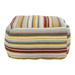"Surya - Surya POUF-143 20"" x 20"" x 12"" - Stand out from the crown with this multi colored square pouf. It's striped pattern is accented by colors of taupe, gray, baby blue, maroon, and vanilla."