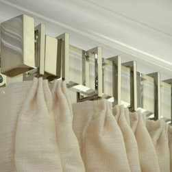 Rectangular acrylic drapery hardware - Rectangular acrylic drapery rod with nickel finals, brackets and rings