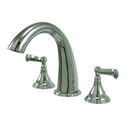 """Kingston Brass - Polished Chrome Royale Two Handle Roman Tub Filler KS5361FL - Two Handle Deck Mount, 3 Hole Sink Application, 8"""" to 36"""" Widespread, Fabricated from solid brass material for durability and reliability, Premium color finish resists tarnishing and corrosion, 1/4 turn On/Off water control mechanism, 1/2"""" IPS male threaded shank inlets, Ceramic disc cartridge, 2.2 GPM (8.3 LPM) Max at 60 PSI, Integrated removable aerator, 7-1/8"""" spout reach from faucet body, 8-7/16"""" spout height.. Manufacturer: Kingston Brass. Model: KS5361FL. UPC: 663370021992. Product Name: Kingston Brass Royale Two Handle Roman Tub Filler. Collection / Series: Royale. Finish: Polished Chrome. Theme: Classic. Material: Brass. Type: Faucet. Features: Drip-free ceramic cartridge"""
