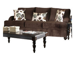 Chelsea Home Furniture - Chelsea Home Chloe Sofa in Bella Chocolate - Tory Spa Pillows - Mechanism or Special Decorative Features Includes Toss Pillows as shown, Fabric Swatch Fabric Samples Avaliable by Mail, Cover Choices Bella ChocolateTory Spa pillows, Seating Comfort Medium, Frame Construction The frames are constructed with all solid kiln dried hardwoods and engineered wood products  The stress points are reinforced with blocks to secure a long lasting frame, Spring System The sinuous springing system is manufactured with a reinforced 16 gauge border wire to maintain a uniform seating  Double springs are used on the ends nearest the arms to give balance in the seating, Cushion Composition Cushions are made from hidensity foam cores with Dacron polyester wrap to provide longer life All cushions are made with zippers, Fabric 100 Poly46 Cotton, 34 Polyester, 11 Nylon, 9 Acrylic, Sofa 1