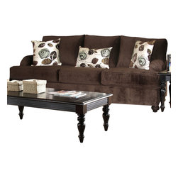 Chelsea Home Furniture - Chelsea Home Chloe Sofa in Bella Chocolate - Tory Spa Pillows - Chloe sofa in Bella Chocolate - Tory Spa Pillows belongs to the Chelsea Home Furniture collection