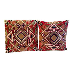 Used Hand Made Crewel Tribal Pillows - A lovely estate sale find, this is a pair of beautifully hand crafted pillow covers in a tribal design. They are backed in a solid beige fabric with a zipper the width of the piece. Each has a pillow insert.