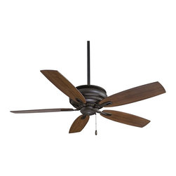 "Minka Aire - Traditional 54"" Minka Aire Timeless Oil-Rubbed Bronze Finish Ceiling Fan - A smooth blend of finish and form distinguishes the Timeless Minka Aire ceiling fan. This simple design is enhanced by subtle design elements and details. The fan motor features an oil-rubbed bronze finish and it's matched with medium maple blades. Oil-rubbed bronze finish. Medium maple blades. 54"" blade span. 14 degree blade pitch. 188 x 15 mm motor size. Lifetime motor warranty. Pull chain operation. 3 1/2"" and 6"" downrods included. Fan height 12 1/2"" from ceiling to blade (with 3 1/2"" downrod). Fan height 14 1/2"" from ceiling to bottom of switch housing (with 3 1/2"" downrod). (UM)  Oil-rubbed bronze finish.  Medium maple blades.  54"" blade span.  14 degree blade pitch.  188 x 15 mm motor size.  Lifetime motor warranty.  Pull chain operation.  3 1/2"" and 6"" downrods included.  Fan height 12 1/2"" from ceiling to blade (with 3 1/2"" downrod).  Fan height 14 1/2"" from ceiling to bottom of switch housing (with 3 1/2"" downrod)."