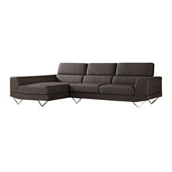 """Zuri Furniture - Brown Trago Fabric Sectional - Left Chaise - Transform any space into a modern sphere of comfort with this contemporary styled sectional. Striking chrome v-shaped legs highlight this gorgeous modern masterpiece and the extra lumbar support in the back cushion will make Trago your """"go to"""" choice for maximum relaxation. Available in grey/green color shown only."""