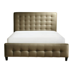 Diamond Sofa - Zen Collection, California King Size Bonded Leather Tufted Bed - The Zen Tufted Leather Bed by Diamond Sofa offers a sleek, sophisticated and stylish addition to your bedroom. Featuring the popular platform bed design, this high profile tufted Mink Brown bonded leather headboard, side rails and tufted recessed footboard adds a chic vibe to your space. No box spring or foundation required. Overall California King Size Bed is 76 inches wide by 90 inches long by 47 inches high.