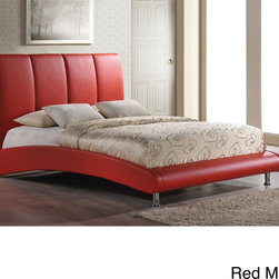 None - King PU Bed - Comfy and stylish,this upholstered bed will add a contemporary flair to your bedroom.  Featuring an arched base and high headboard your master retreat will be a place of true rest and relaxation.  Chrome metal legs add the perfect finishing touch.