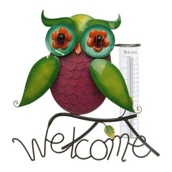Toland Home and Garden - Rainbow Owl Tabletop Rain Gauge - Rainbow Owl Tabletop Rain Gauge. Track the weather and accent your garden. Weather resistant and easy to read designs add style to your patio.