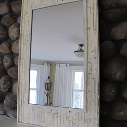 """redgarage - Recycled wood beach mirror - This is our beach mirror, it has a well worn look and a comfortable feel like your favorite old jeans,it was created from aged wood from an old beach house. size is 24""""w x36"""" h This is a sample size,we can build this to any custom size."""