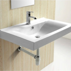 Caracalla - Rectangular White Ceramic Wall Mounted bathroom Sink - Modern style, rectangular white ceramic wall mounted bathroom Sink. Trendy wall hung washbasin comes with overflow and one pre-drilled holes. Made in Italy by Caracalla. Made out of white ceramic. Modern design. With overflow. Standard drain size of 1.25 inches.