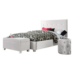 Standard Furniture - Standard Furniture Young Parisian 3-Piece Kids' Bedroom Set in White - Young Parisian beds will add alluring Hollywood glamorous styling to youth bedrooms, with their plush fabrics and eye-catching jeweled accents.