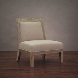 None - Connor Beige Linen Chair - Bringing comfort and warmth to any setting, this lovely Connor Beige Linen Chair features lovely light beige linen upholstery. The frame is composed of solid wood in a natural reclaimed finish and is constructed into a sturdy modern design.