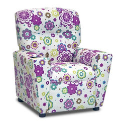 "Kidz World - Kidz World Kid's Recliner in Secret Garden Spring - This is one of our new additions to our Kidz World Designer juvenile upholstered kid's recliners and it features the same quality construction and style as all of our kid's recliners. This is upholstered in the new brushed polyester fabric in a background of white with multi-colored flowers in an all-over pattern in shades of lilacs blues and greens. It looks and feels like real ""suede"" while giving you the ability to clean it using a damp cloth with mild soap and water and gently rubbing off the stained area. Plastic cup holder recessed in top right armrest. We feel certain that this adorable pattern would be a welcome addition to any young girl's room."