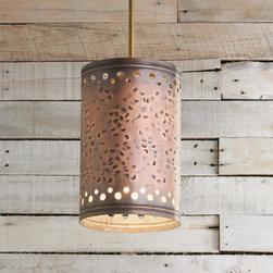 Hammered Copper Cylinder Pendant Light -