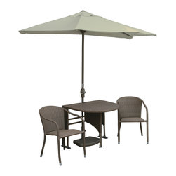 Blue Star Group - 5-Piece GENEVIEVE All-Weather Wicker Set w/ OFF-THE-WALL BRELLA - 42 In. GENEVIEVE Set Half-Oval Table / Stacking Chairs / Coffee Finish