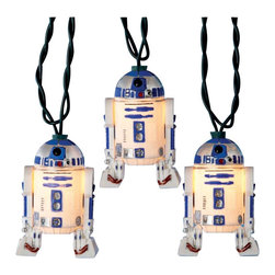 "Lamps Plus - Themed Star Wars R2D2 10-Light String of Party Lights - Celebrate the epic Star Wars series with these fun party lights. Each light features a full-color replica of R2D2 lighted from within by a small fixture. Indoor/outdoor use. 10-light string. 12"" spacing between lights. 30"" lead wire. Includes spare bulbs and fuses. Total length 11 1/2 feet.  Indoor/outdoor use.   10-light string.   12"" spacing between lights.   30"" lead wire.   Includes spare bulbs and fuses.   Total length 11 1/2 feet."