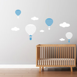 Cherry Walls - Hot Air Balloons Decals - Go around the world from the comfort of your own home. With these intrepid hot air balloon decals, your wall becomes a window to a world of exciting adventure. Perfect for the nursery or even as a whimsical addition to your framed travel photos, the puffy clouds and floating vessels will carry your imagination along with them.