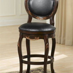 Hillsdale Furniture - Alaina Swivel Stool in Distressed Cherry w Co - Choose Height: 24 in.Includes 1 Swivel Seat Stool. Distressed Cherry Finish with Copper Highlights. Black Leather Upholstered Seat and Back. Some Assembly Required. Counter Stool: 19 in.W x 21.625 in. D x 40.75 in. H, Seat Height: 24 in.. Bar Stool: 19 in.W x 21.625 in. D x 46.75 in. H, Seat Height: 30 in.Both stately and feminine, the Alaina swivel stool is a standout in any home. A cherry finish combined with delicate copper leaf accents and unique lattice back make this stool a powerhouse of home décor. The black leather seat and back add comfort and high end style.