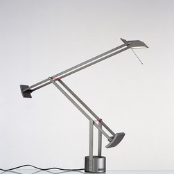 Tizio classic table, design by Richard Sapper - 1972, 1990, 1991, 2002, 2008 - Table standing luminaires for adjustable direct task, low voltage, halogen or LED lighting.