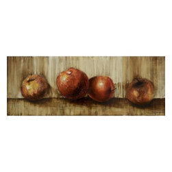 YOSEMITE HOME DECOR - Subdued Still II Art Painted on Canvas - Contemporary still life of apples using rich earth tones and medium texture to compliment the painting's restrained style