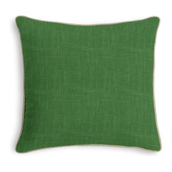 Dark Green Lightweight Linen Corded Pillow - Black and white photos, Louis XIV chairs, crown molding: classic is always classy. So it is with this long-time decorator's favorite: the Corded Throw Pillow.  We love it in this luxurious lightweight linen blend with characteristic slubs in emerald green.  linen cotton blend will resist wrinkles.