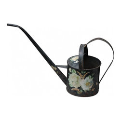 "Watering can - Here we have a tole styled vintage handpainted watering can with great patina. There is some rust spots due to age and use, but overall this can is sweet with a pretty painted flower design. The dimensions are 5 3/4"" H, x 6"" W."