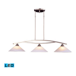 ELK Lighting - ELK Lighting 6502/3-LED Elysburg 3-Light Island Lights in Satin Nickel - The geometric lines of this collection offer harmonious symmetry with a sophisticated contemporary appeal. A perfect complement for kitchens, billiard parlors, or any area that requires direct lighting. featured in satin nickel with white marbleized glass or aged bronze finish with tea stained brown swirl glass. - LED, 800 lumens (2400 lumens total) with full scale dimming range, 60 watt (180 watt total)equivalent, 120v replaceable LED bulb included